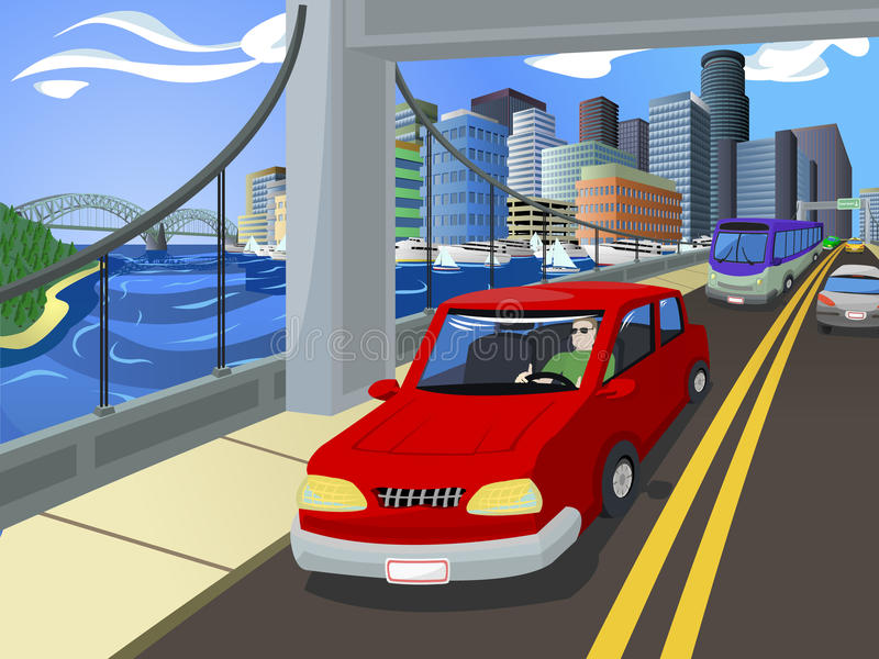 Traffic On A Busy City S Bridge Royalty Free Stock Photography
