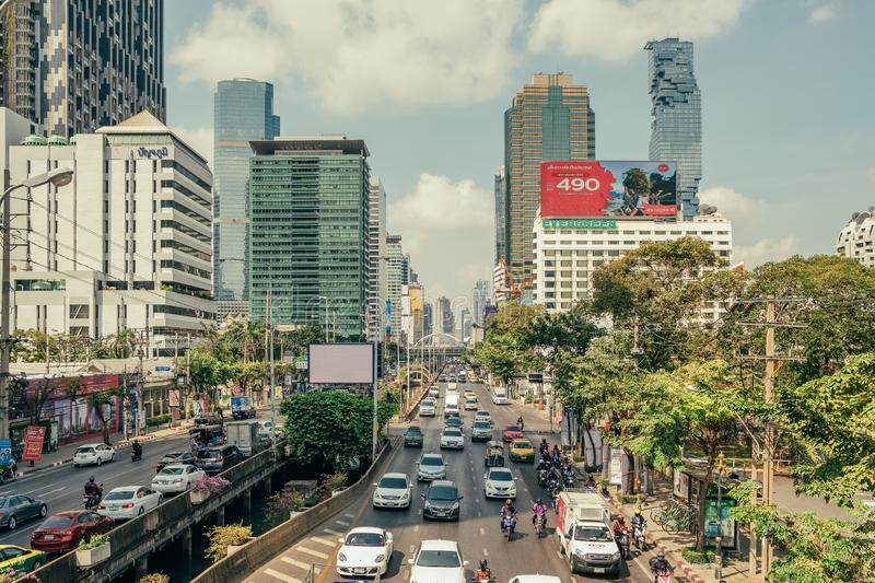 Daily traffic on busy road in Bangkok stock photo
