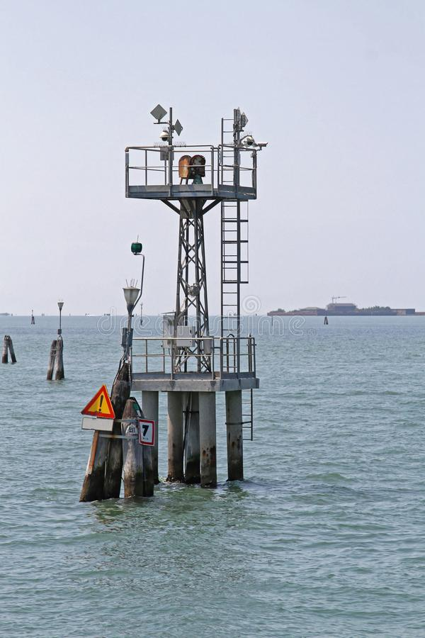 Traffic Camera Venice. Traffic Security Cameras at Tower Antenna Mast in Venice Lagoon stock photos