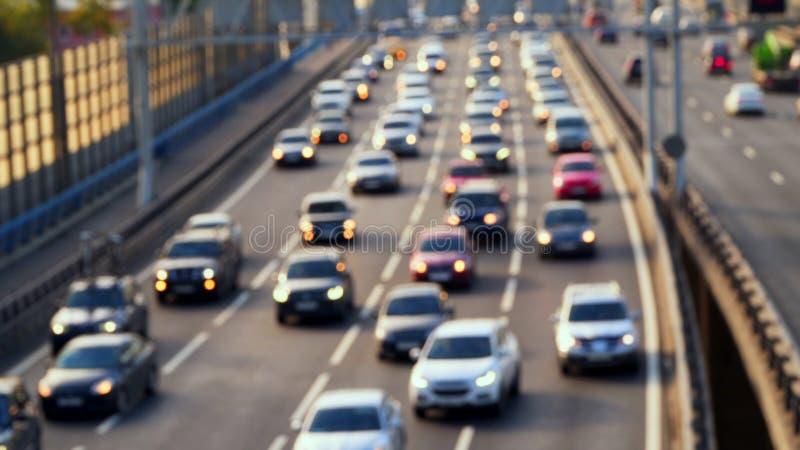 Traffic of cars on the bridge. Defocused foto. Traffic of cars on the bridge Defocused foto stock photos