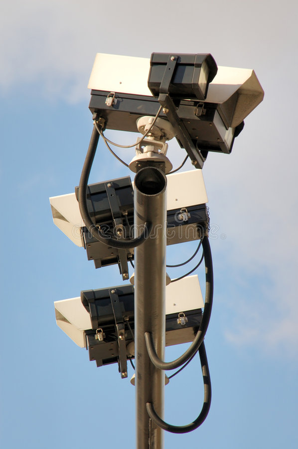 Traffic CCTV cameras. Mounted on a metal post stock image