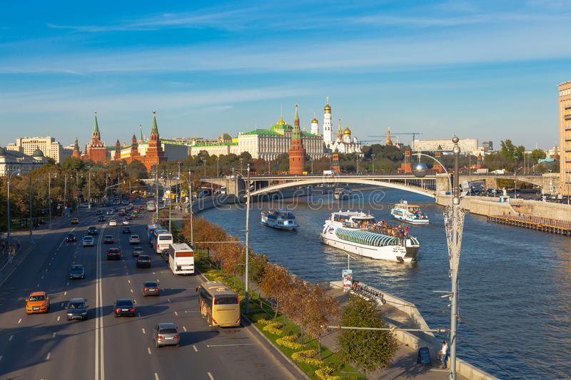 Traffic in center of Moscow royalty free stock photography