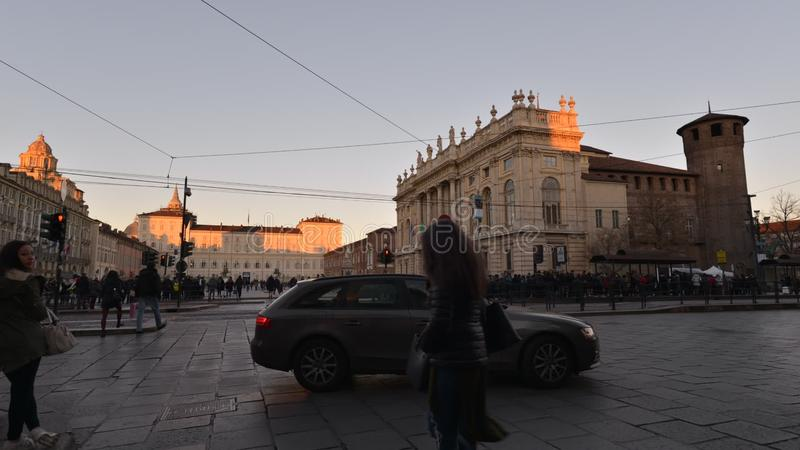 Traffic in the centre of Torino, Italy, on January 16, 2016 - Timelapse Video. Torino, Italy - January 16, 2016: (Timelapse Video) People walking and shopping in stock footage