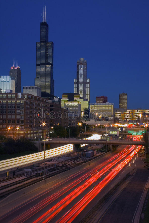 Traffic in Chicago stock photography