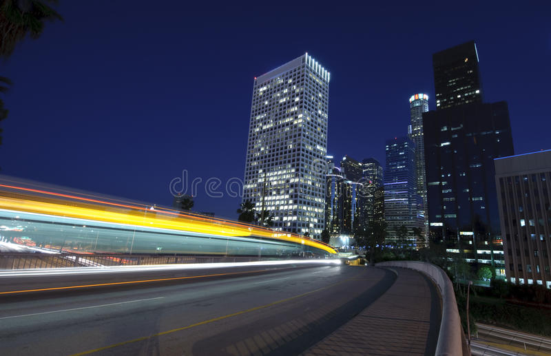 Traffic into the city. At night stock photography