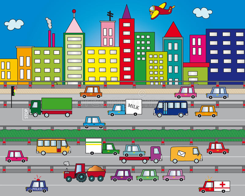 Traffic in city. Illustration of traffic in city royalty free illustration