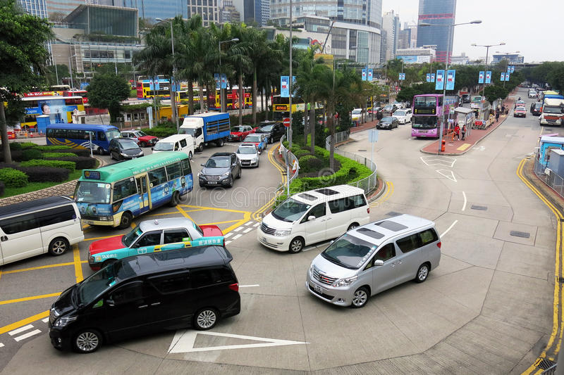 Traffic and city life in this Asian international business and financial center. HONG KONG - JANUARY 14,2016: In the Streets of Hong Kong.Traffic and city life royalty free stock photo