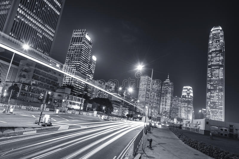 Traffic in city. Night traffic and skyline of Hong Kong city royalty free stock image