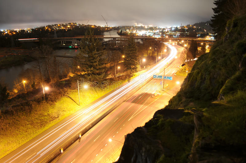 Download Traffic In A City At Night Time Stock Image - Image: 17961881