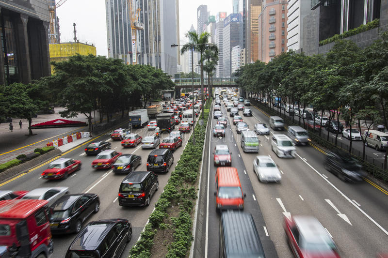 Traffic in the city. The road traffic in Hong Kong royalty free stock images