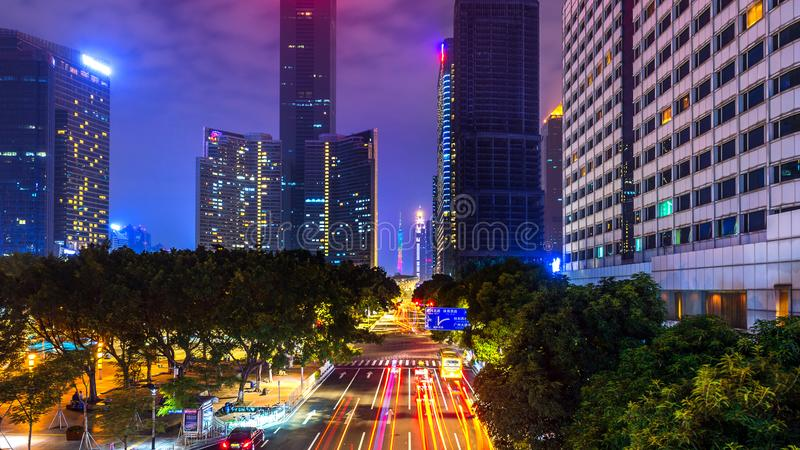Traffic and Cityscape at night in Guangzhou, China royalty free stock images
