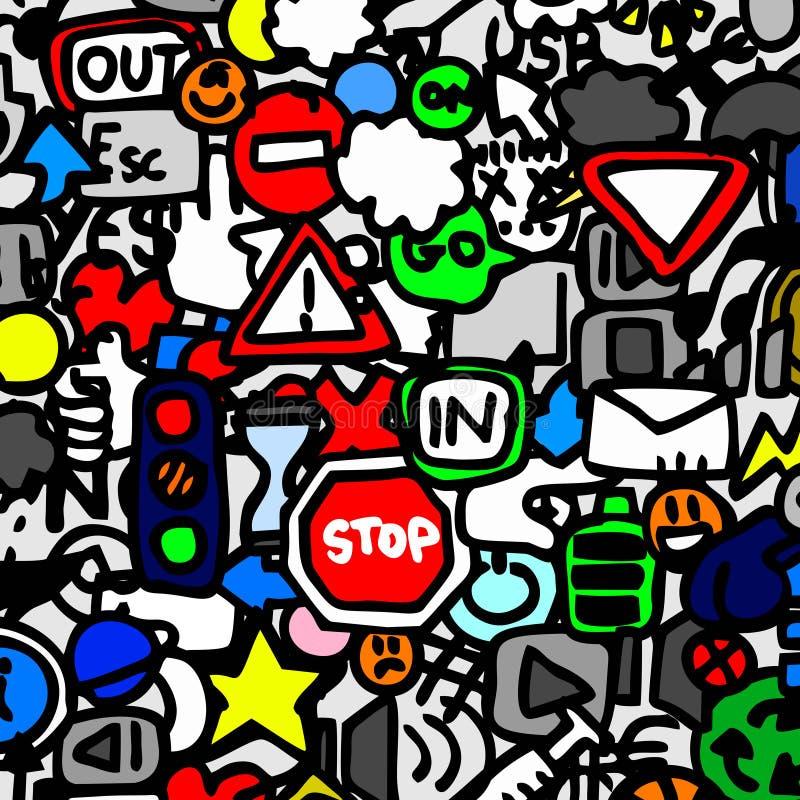 Traffic color wallpaper. Creative design of traffic signs wallpaper stock illustration