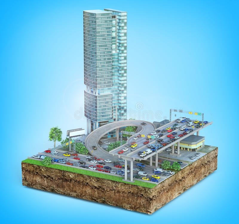 Highway in city. Piece of ground with roads. 3d illustration. Traffic concept. Highway in city. Piece of ground with roads. 3d illustration royalty free illustration