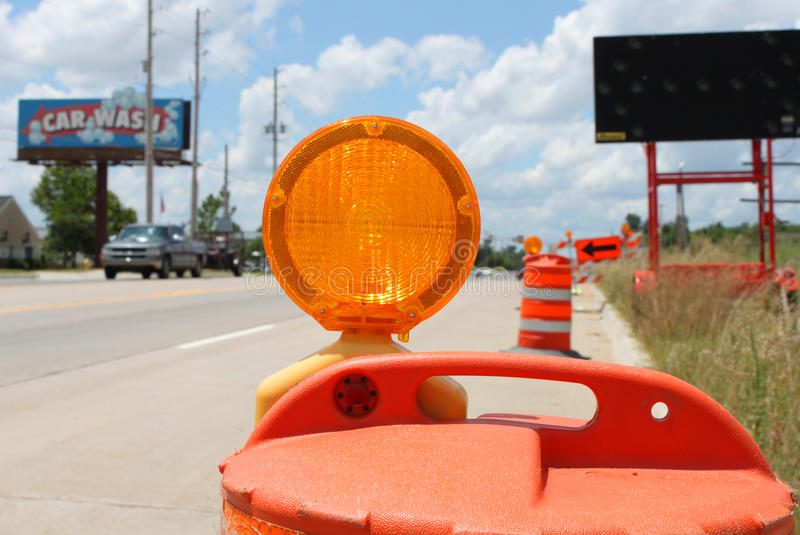 Traffic cone. Road blocked for road work stock image