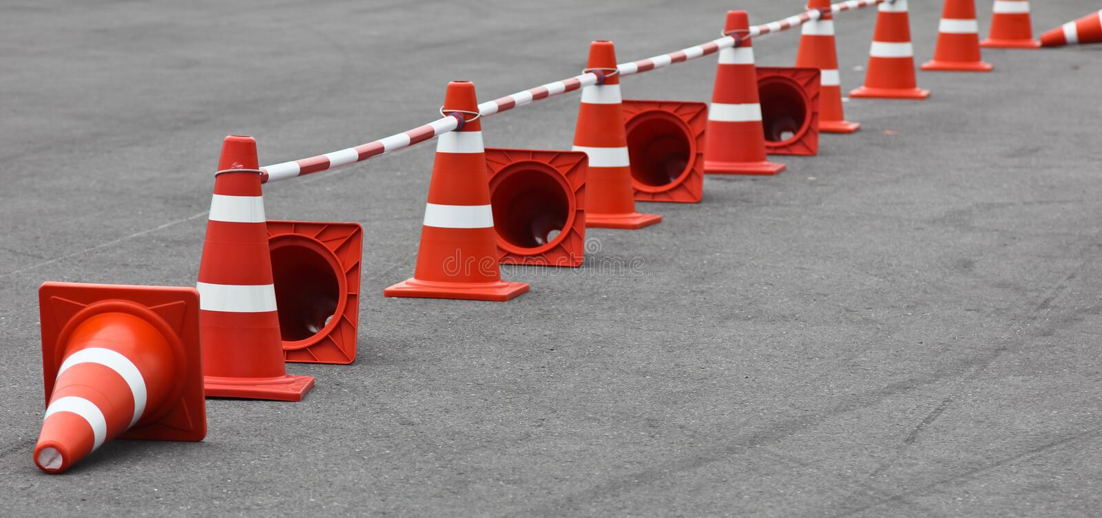 Traffic cone. Background with traffic cone on road track royalty free stock photo