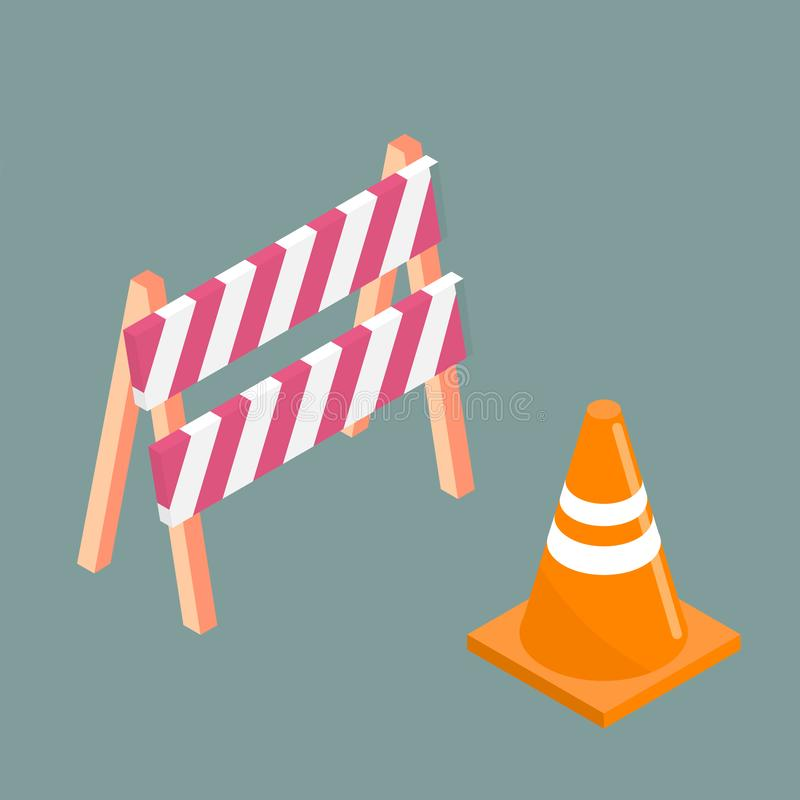Traffic cone and barrier board. Vector isometric illustration. Sign for road repair vector illustration