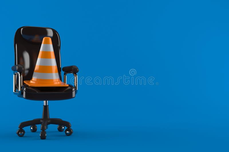 Traffic cone on business chair. Isolated on blue background. 3d illustration royalty free illustration