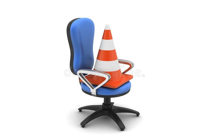 Traffic cone with chair. In white background vector illustration