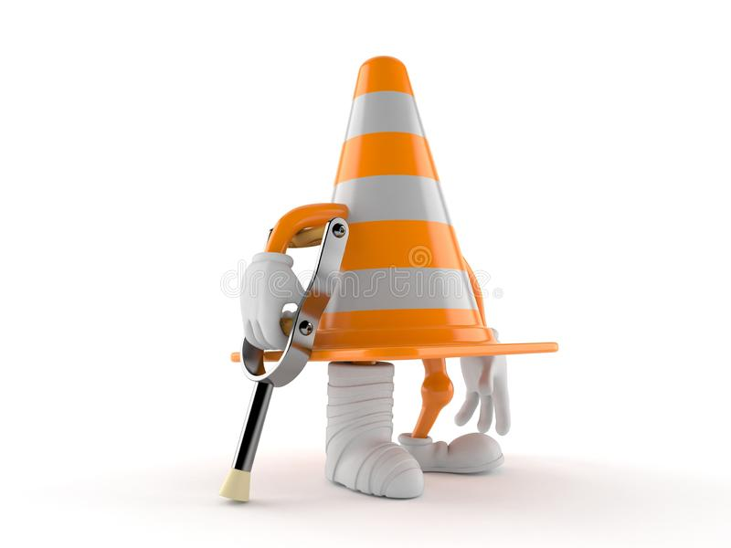 Traffic cone character with broken leg. Isolated on white background. 3d illustration stock illustration