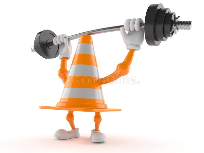 Traffic cone character lifting heavy barbell royalty free illustration