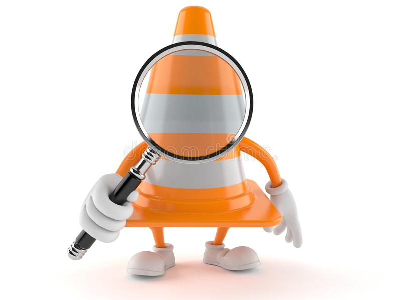 Traffic cone character looking through magnifying glass vector illustration