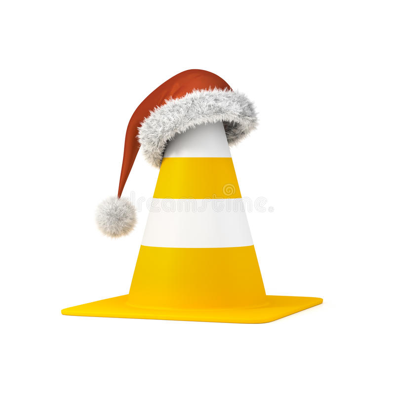 Traffic cone the a christmas hat royalty free illustration