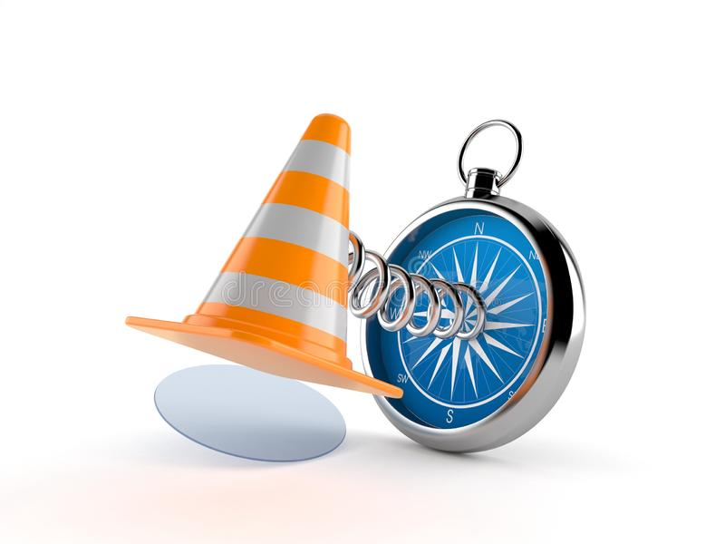 Traffic cone with compass stock illustration