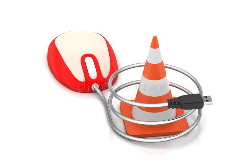 Traffic cone connect with mousse stock illustration