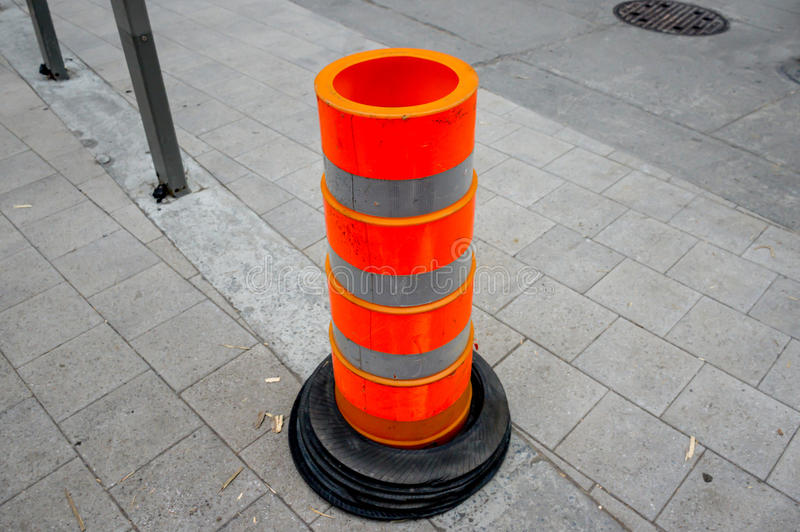 Traffic cone on construction road royalty free stock image