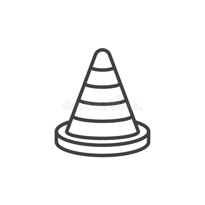 Traffic cone line icon, outline vector sign, linear style pictogram isolated on white. royalty free illustration