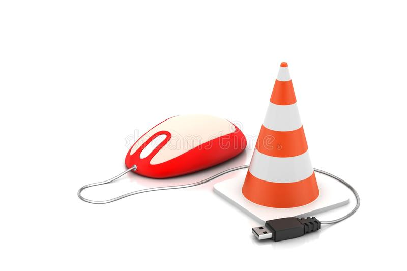 The traffic cone with mouse royalty free illustration