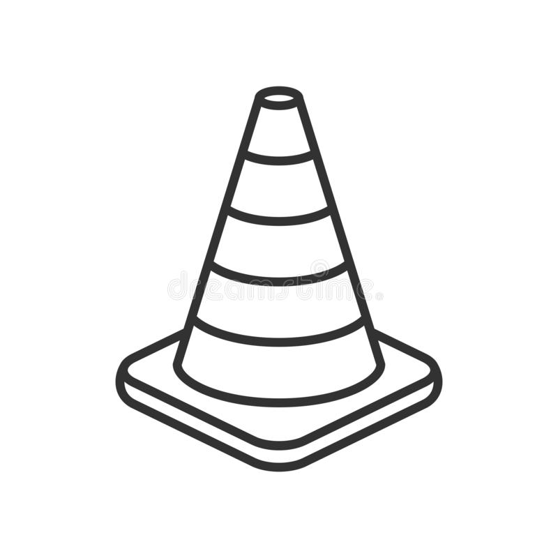 Traffic Cone Outline Flat Icon on White. Traffic cone outline flat icon, isolated on white background. Eps file available royalty free illustration