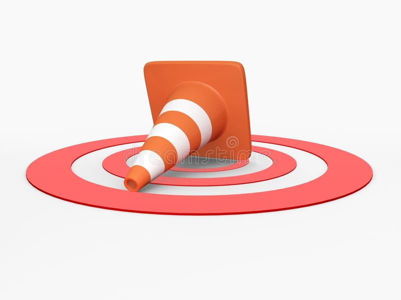 Traffic Cone On Target Royalty Free Stock Photography