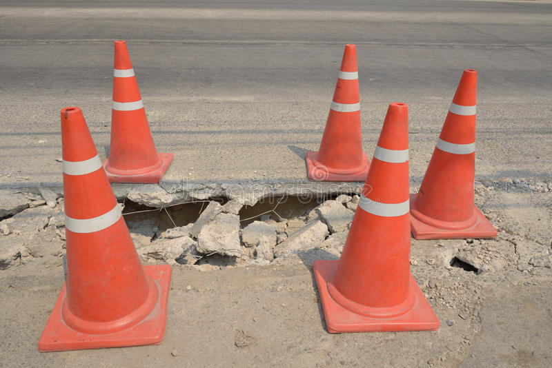 Download Traffic Cone  Used On Concrete Pavement . Stock Images - Image: 30519384