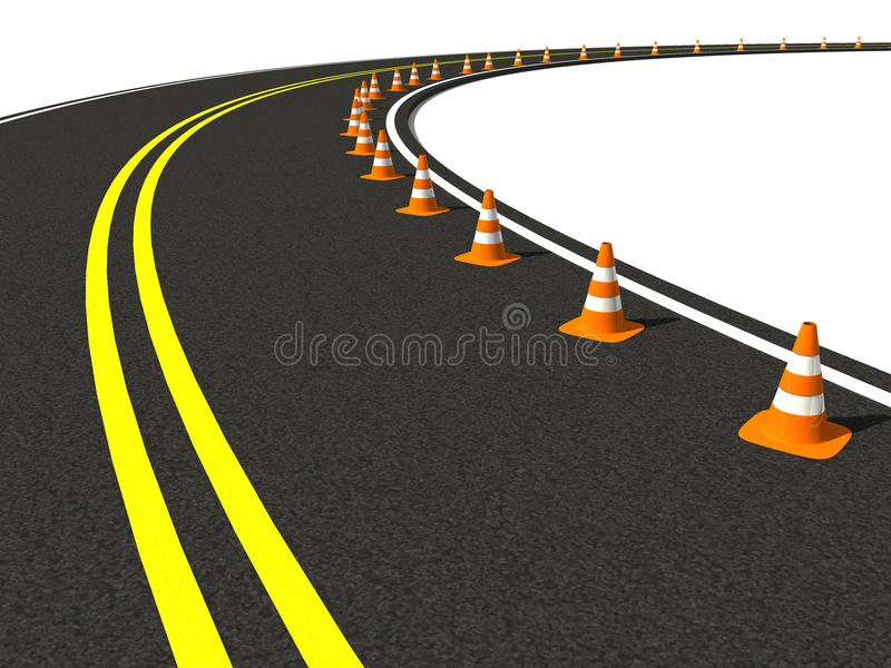 Download Traffic Cone On Winding Road Stock Illustration - Image: 24633762