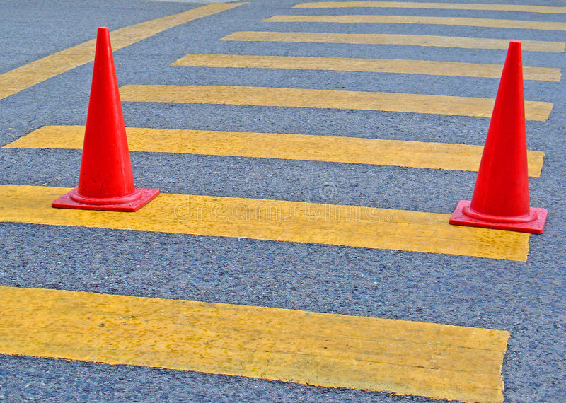 Traffic Cones. Red traffic Cones on the road stock photography