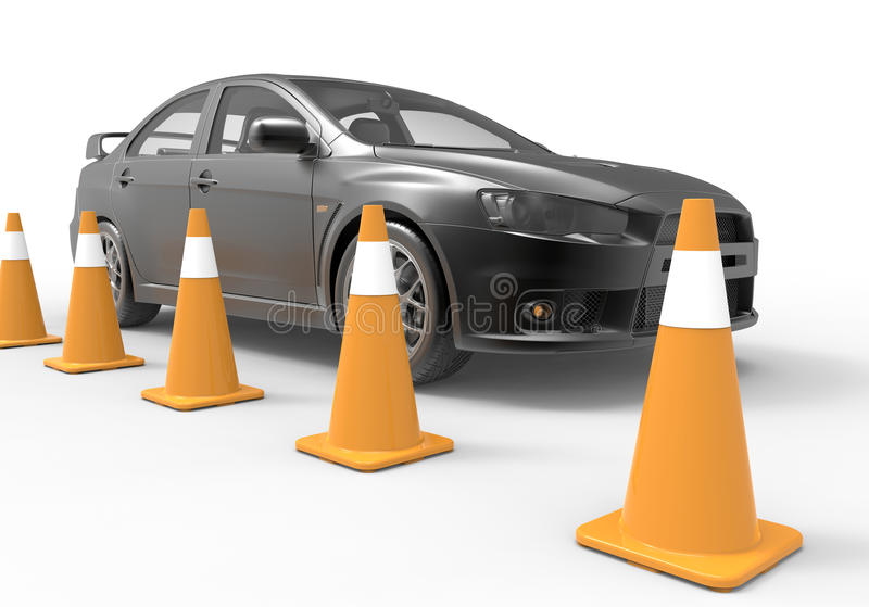 Traffic cones. 3D render illustration of a car positioned behind a row of traffic cones. The composition is on a white background with shadows vector illustration