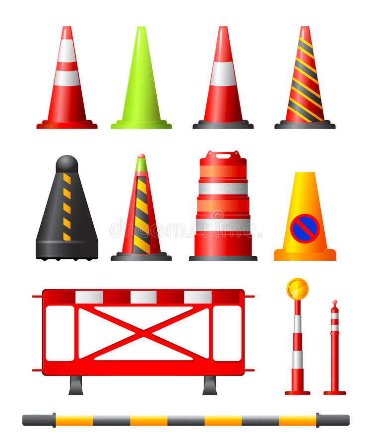 Traffic Cones, Drums & Posts. Collection of different traffic cones, drums, posts and safety barriers vector illustration