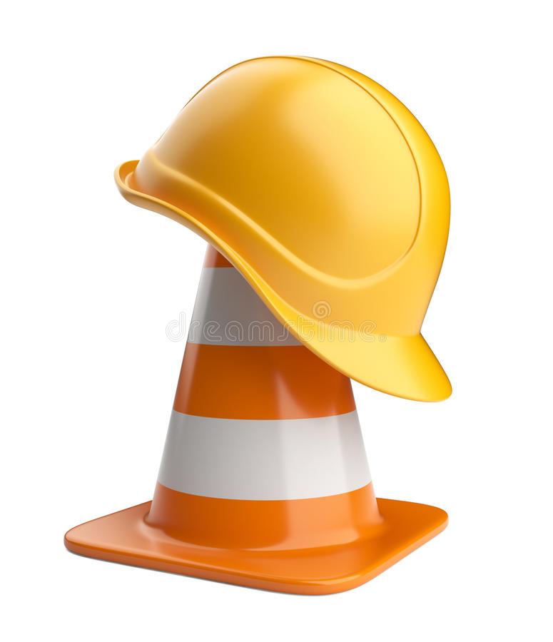 Traffic cones and hardhat. Road sign