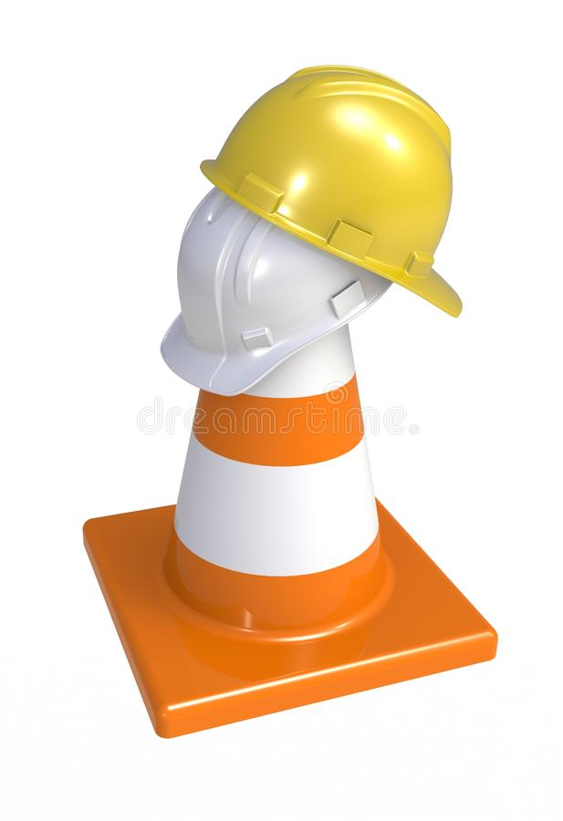 Traffic cones and hardhat. Road sign. Icon isolated on white background. 3d rendering royalty free illustration
