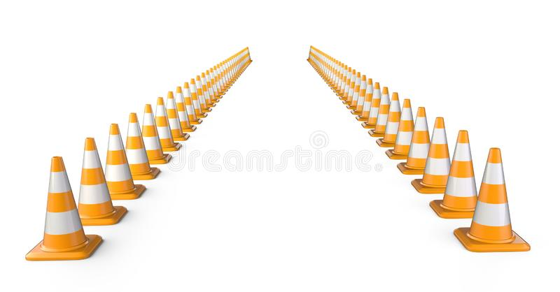 Traffic cones long rows. Road sign isolated over white background vector illustration