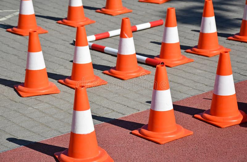 Traffic cones on the street. N royalty free stock image