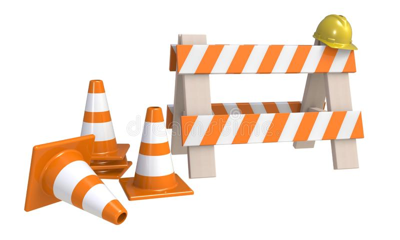 Traffic cones and an `under construction ` barrier isolated on a white background. Under construction concept. Road warning sign. 3D rendering royalty free illustration