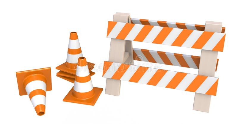 Traffic cones and an `under construction` barrier isolated on a white background. Under construction concept. Road warning sign. 3d rendering royalty free illustration