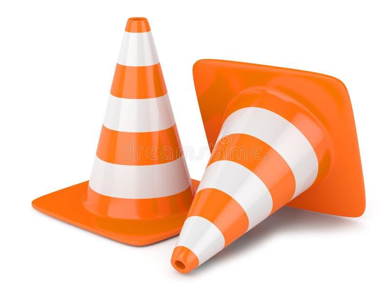 Traffic cones. On white background stock illustration