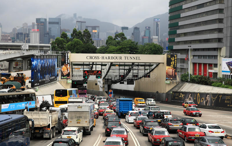 Traffic congestion at Cross Harbour Tunnel stock images