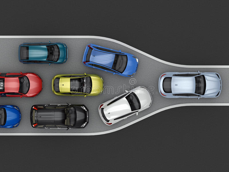Traffic congestion due to narrowing of the road. Top view. 3d rendering royalty free illustration