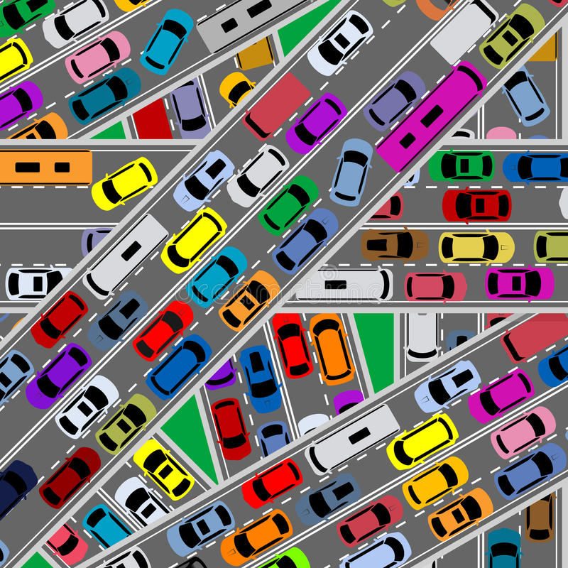 Traffic congestion on roads. For modern city problems concept stock illustration