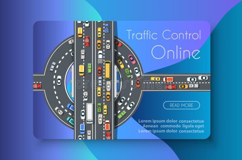 Traffic control online. Transportation concept business illustration banner vector illustration