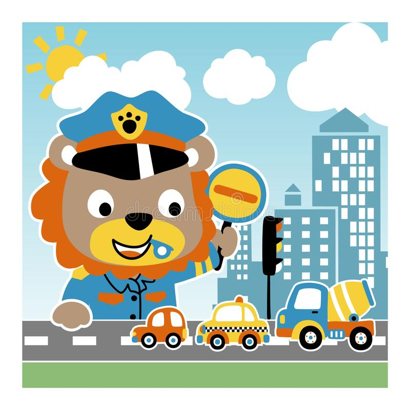 Lion the funny traffic cop stock illustration